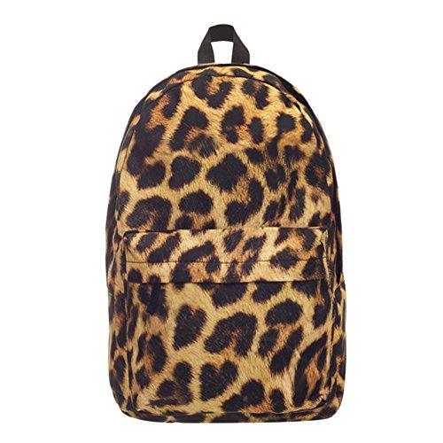 Widewing Travistar Bolsos Mochilas Mujer Casual Las mujeres de la calle 3D leopardo imprimieron las mochilas de viaje del hombro de las muchachas de las mochilas