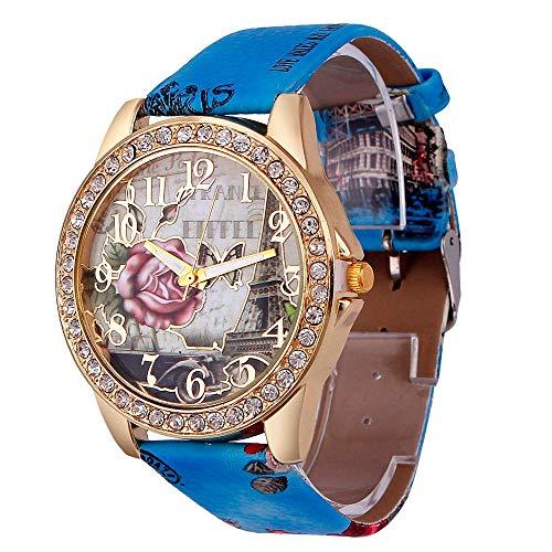Orologio da donna in pelle neutra Ginevra Orologio da uomo Orologio dadonna Lady Orologio da polso Orologio Geneva Relojes MujerBlu
