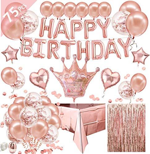 Newlemo Ballons Anniversaire Rose Gold, kit Anniversaire Fille 75 Pièces - Comprenant Une Guirlande Joyeux Anniversaire, Rose Gold Ballons, Ballon de Confettis, Nappe en Or Rose