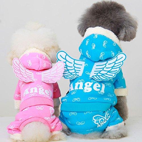犬服 ワンちゃん服 つなぎ Angel 天使の羽 前開き スナップボタン DOG ペット用品 パーカー (S, ピンク)
