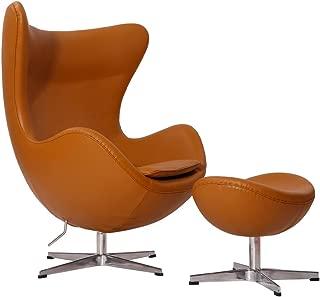 MLF Arne Jacobsen Egg Chair & Ottoman in Top Light Brown Aniline Leather. Famous Modern Design