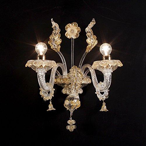 Canaletto applique 2 luci in vetro di Murano cristallo oro