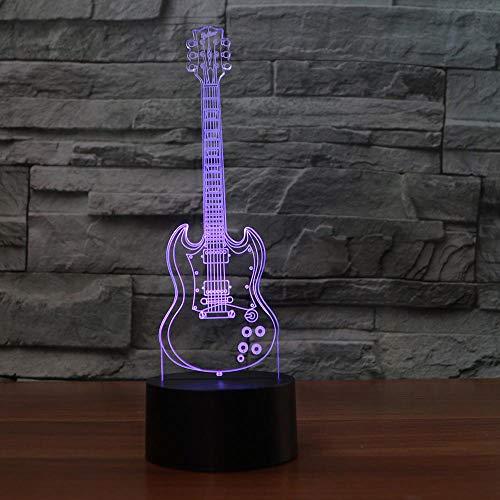 KangYD Modelo de guitarra eléctrica con luz nocturna 3D, lámpara de ilusión óptica LED, E - Base para despertador (7 colores), USB alimentado, Decoración del hogar