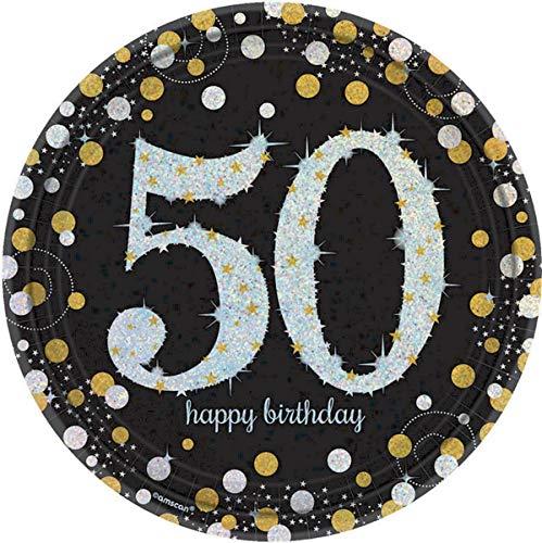 amscan 551546 Pappteller,26cm, Aufschrift 50 Happy Birthday, mit Glitzereffekt