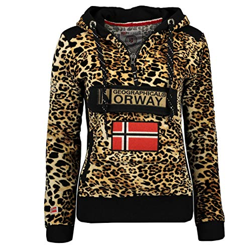 Geographical Norway GYMCLASS LADY - Felpa Con Cappuccio E Tasche Da Donna Kangaroo - Felpa Logo Donna - Maniche Lunghe Comfort - Felpa Cappuccio Cotone Sportivo PANTERA DI VELLUTO L - TAGLIA 3