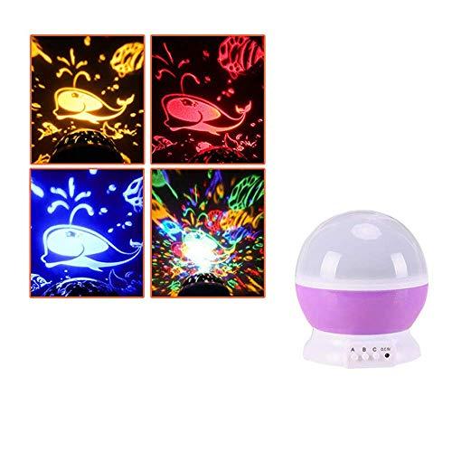 Lámpara de proyección LED para bebé con rotación de bebé, luz nocturna LED, para habitación de bebé, color rojo rosa, tamaño: universo