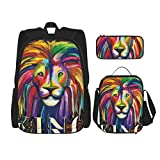 Nelife Rainbow Lion School Backpack 3 Piece Set For Boys And Girls (School Bag + Pencil Case + Lunch Bag Combination)