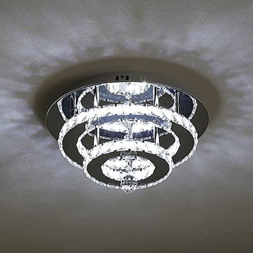 Lampadario Classico in Cristallo, 36W Plafoniera LED Design Doppio Cristallo, Lampadario Cristallo Moderno Lampada da Soffitto LED per Soggiorno Camera da Letto Corridoio Cucina (Luce Bianco Freddo)