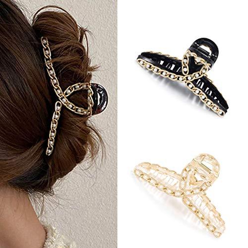 Runmi Haarklammern, Perlen, Haarklammern, Haarklammern, große Haarspange, Haar-Accessoires für Frauen und Mädchen (2 Stück)