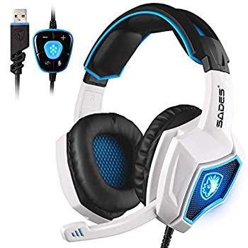 SADES Spirit Wolf 7.1 Surround Stereo Sound USB Computer Gaming Headset with Microphone,Over-the-Ear Noise Isolating,Breathing LED Light For PC Gamers  Black White