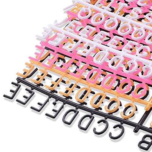 1 Inch Letters for Felt Letter Board, 600 Pieces Colorful Plastic Letter Characters Letter Set Numbers or Symbols for Changeable Letter Board Message Board, Reusable, Black, White, Gold, Pink