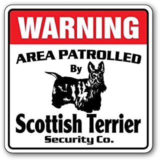 Scottish Terrier Security Sign Area Patrolled Dog Guard Owner Pet Leash Gift