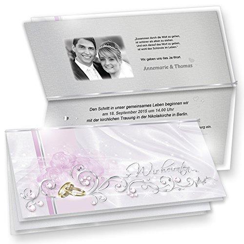 TATMOTIVE Herrliche Einladungskarten Hochzeit DE LUXE 20-ER Sets - silbergrau + Umschläge