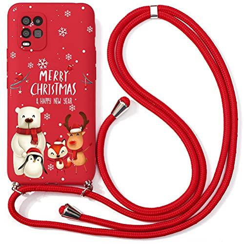 Yoedge Funda con Cuerda para Xiaomi Pocophone F1 6,18', Rojo TPU Silicona Mate Carcasa con Navidad Dibujos Animados, Ajustable Correa de Cordón Antigolpes Case para Pocophone F1, Animales