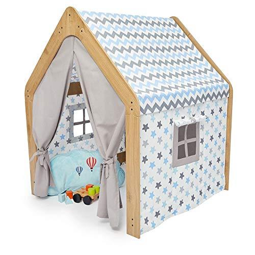 Spielzelt für Kinder Kinderzimmer Spielhaus, MDF Kinderzelt Indoor & Outdoor (Natural Blue)