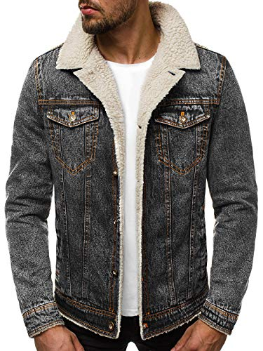 OZONEE Herren Jeansjacke Jacke Jeans Übergangsjacke Herbstjacke Vintage Herrenjacke Herbst Übergangs Denim Bikerjacke Jacket Denim Winter Knopfverschluss JB/JP1109 DUNKELGRAU M