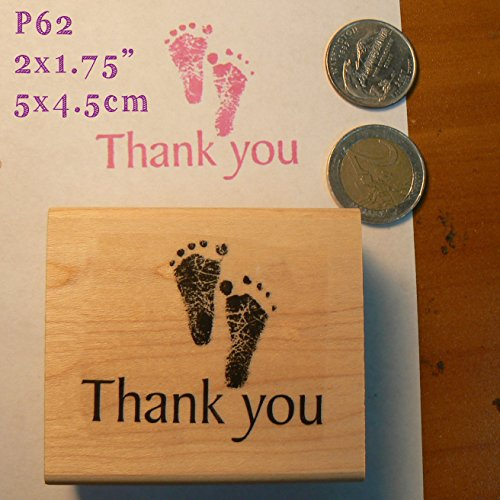 P62 Thank You Baby feet Rubber Stamp