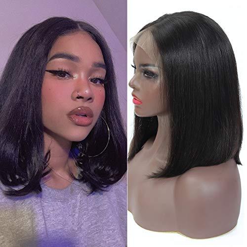 Short Bob Lace Front Wigs Human Hair 13x4 Short Bob Wig 9A Brazilian Remy Hair Lace Front Wigs Straight Human Hair Bob Wigs 150% Density 12 Inch Natural Color