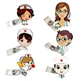 6 Piezas Carretes de Insignia Retráctil de enfermera de doctor,para tarjetas de identificación, con clip para cinturón, para puerta, para niñas, enfermeras, profesores, estudiantes(6 formas)
