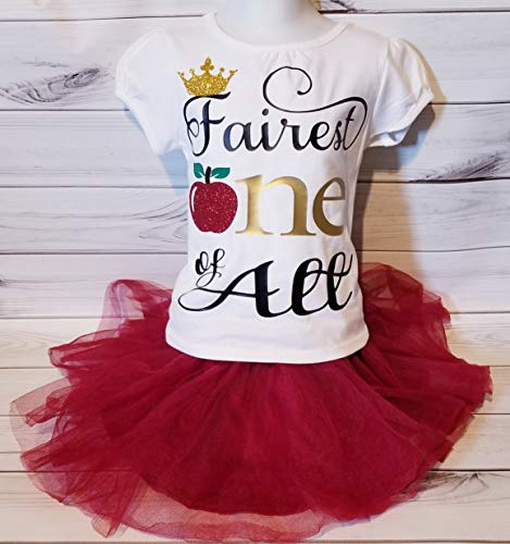 Girls Snow White Evil Queen Glitter Sparkle Fairest ONE of them all Crown Apple Birthday Shirt 3T Ready To Ship