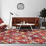 Alfombra Grande,Rug Carpet, Geometric Red Ethnic Style Pattern Rug, for Bedroom Bedside Living Room Kitchen Floor Mat Rugs,40 * 60CM