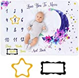 SNOWIE SOFT ® Newborn Baby's Printed Monthly Milestone Soft Flannel Blanket for Photography - Backdrop Photo Prop