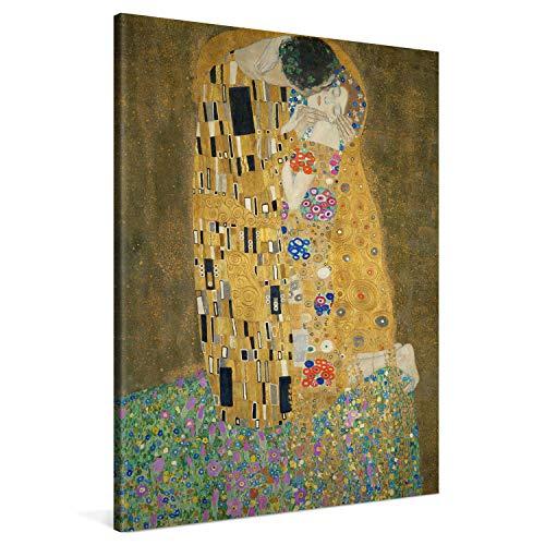 PICANOVA – Gustav Klimt The Kiss 75x100cm – Cuadro sobre Lienzo – Impresión En Lienzo Montado sobre Marco De Madera (2cm) – Disponible En Varios Tamaños