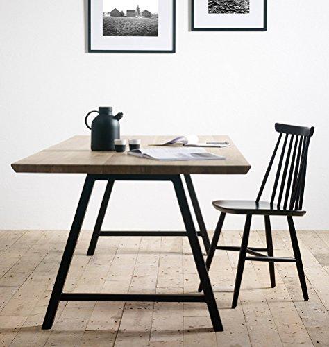 Milanari Table à manger en chêne massif avec pieds métalliques Noir 200 x 100 x 74 cm