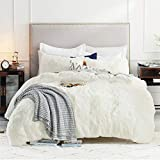 Bedsure Fluffy Comforter Cover Queen Size - Faux Fur Fuzzy Duvet Cover Set, Luxury Ultra Soft Plush Shaggy Duvet Cover 3 Pieces(1 Duvet Cover + 2 Pillow Shams, White)