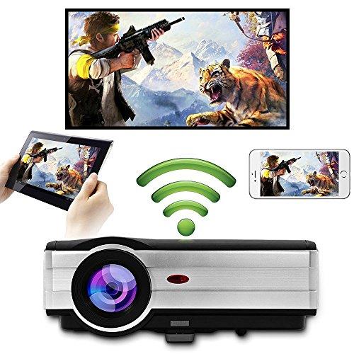 EUG LED Projektor mit 5000 Lumen WXGA HD 1080p mit Dual HDMI, USB VGA AV TV Audio Ausgang und integrierten Lautsprechern für Android Smartphone iPhone Mac Laptop PS4 Xbox TV Hd Wireless Projector