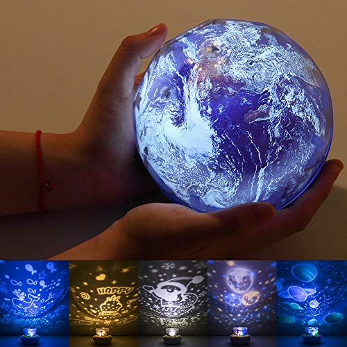Star Night Light for Kids, Universe Projector Planet Lamps, Moon Solar System Ocean Earth Rotating Ceiling Night Light Birthday Gifts for Baby/Toddler Bedroom - 5 Sets of Films