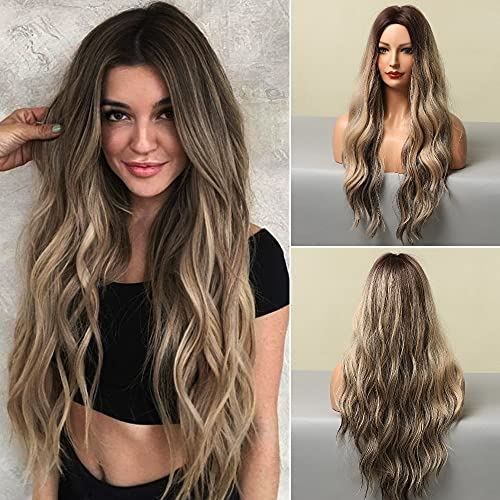 HANYUDIE Ombre Blonde Long Wavy Wig For Women Middle Part Wavy Wigs Synthetic Heat Resistant Party Wigs Natural looking (Ombre Blonde mix Bleach Blonde)