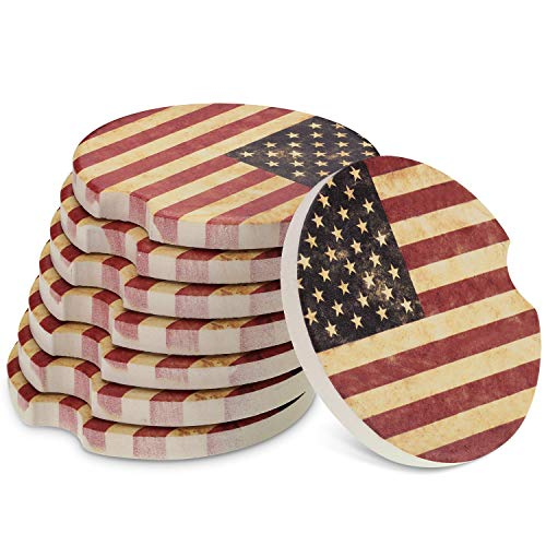 8 Packs USA Flag Cup Coasters Ceramic 2.56 Inch Stone Car Cupholder Absorbent Coaster Set for Drinks Cup (Red)