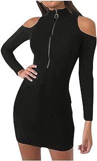 MEIbax Damen Winter Sweatshirt Kleid Langarm Jumper Minikleid Einfarbig Wickelkleid Basic Bodycon Kleid Kurze Partykleider Bleistiftkleid Pullover Kleid