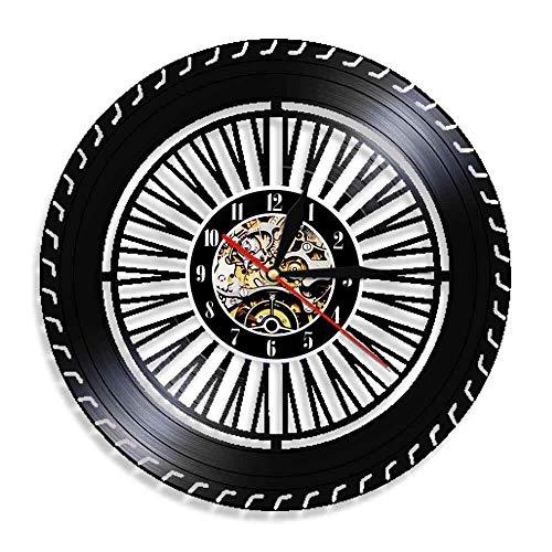 FDGFDG Performance Rad Wanduhr Oldtimer Rad Uhr Auto Service Garage Reparatur Schallplatte Logo dekorative Wanduhr