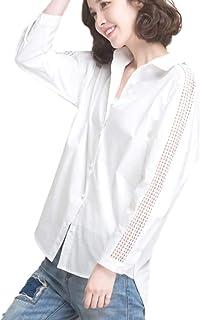 [アクアミー] ブラウス シャツ 長袖 レース袖 前開き 襟付き レディース