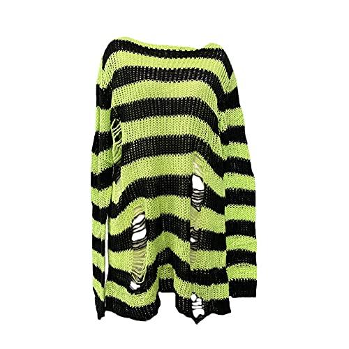 Las mujeres de gran tamaño punk gótico a rayas suéter largo E-Girls Casual ahueca hacia fuera agujero roto rompa puentes ganchillo Y2k Tops, verde fluorescente, Talla única