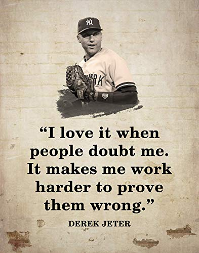Derek Jeter Quotes Wall Art - Inspirational Quotes Wall Art Decor for Home & Office - Unframed Art Prints in Brick Wall Style - Wall Art Decor Gift for Sports Lovers, Baseball Enthusiasts, 11x14 inch