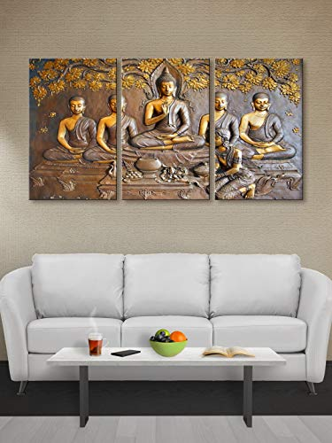 999Store Unframed Printed Meditating Golden Lord Buddha Canvas Painting – Modern Wall Art 3 Pieces Poster for Living Room, Home, Bedroom Decoration (54x30 Inch, Brown)