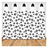 Cartoons Puppy Dog Paw Theme Photography Backdrops Kids Boys Birthday Party Banner Photo Background Newborn Baby Shower Candy Cake Table Decor Photobooth Props 5x3ft Vinyl
