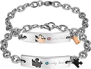 Gullei.com Matching Jigsaw Charm Soulmates Engravable Bracelets Set