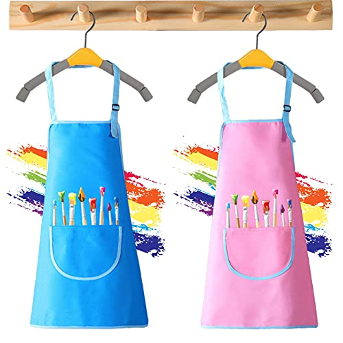 2 Piezas Delantal Niños Delantales Cocina Niños Delantal Infantil Pintura...