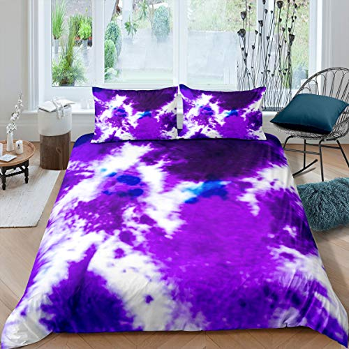 Tbrand White Purple Bedding Set Queen Psychedelic Magic Dream Comforter Cover Set for Children Teens Printed Bedding Set Chic Duvet Cover 3pcs (1 Duvet Cover with 2 Pillowcases)