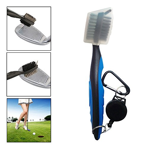 AMY Golf Club Brush Club Groove Cleaner, 2 Ft Retractable Zip-line Aluminum Carabiner, Lightweight Stylish, Easily Attaches to Golf Bag, Ergonomic Design