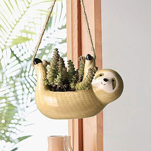 niedliche Faultier Keramik hängen saftige Pflanzer Keramik Bonsai, handgemachte Faultier Blumentopf, Faultier Töpfe für Pflanzen (HangingYellow)