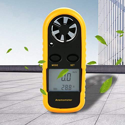 Anemómetro digital de mano, medidor digital de velocidad del viento Medidor de velocidad del viento Temperatura del flujo de aire Temperatura mide con precisión el termómetro con luz de fondo LCD para