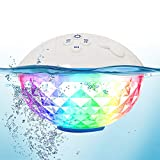 10. Bluetooth Speakers with Colorful Lights, Portable Speaker IPX7 Waterproof Floatable, Built-in Mic,Crystal Clear Stereo Sound Speakers Bluetooth Wireless 50ft Range for Home Shower Outdoors Pool Travel