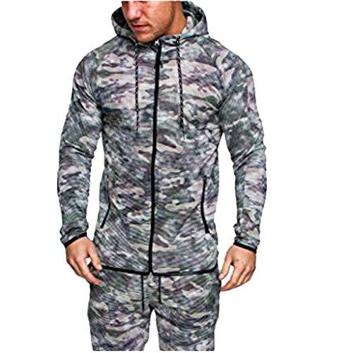 Sweat-Shirt Homme Manches Longues Pull Uni Zippé,Chemisier Simple à Capuche et Camouflage pour Hommes à Manches Longues Jacket de Sport Automne Hiver Manteau Veste Cebbay(Vert,XL)