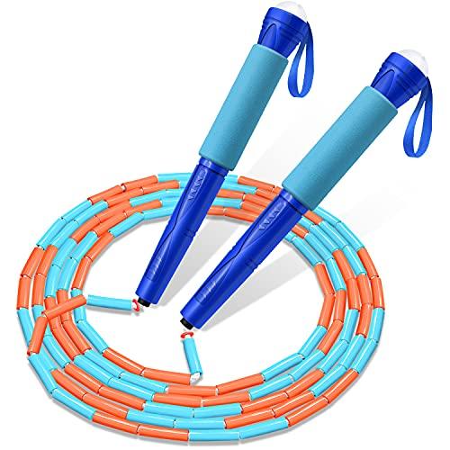 縄跳び 大人用 子供用 FEELCAT なわとび ビーズロープ 初心者 幼児 小学生 ジュニア とびなわ トレーニング用 フィットネス 長さ調整可能 (ロイヤルブルー)