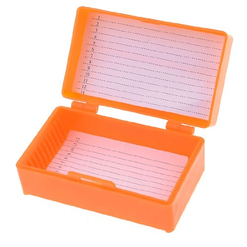 uxcell 8cm x 4.5cm Chemical Experiment 12 Slides Microscope Box Orange
